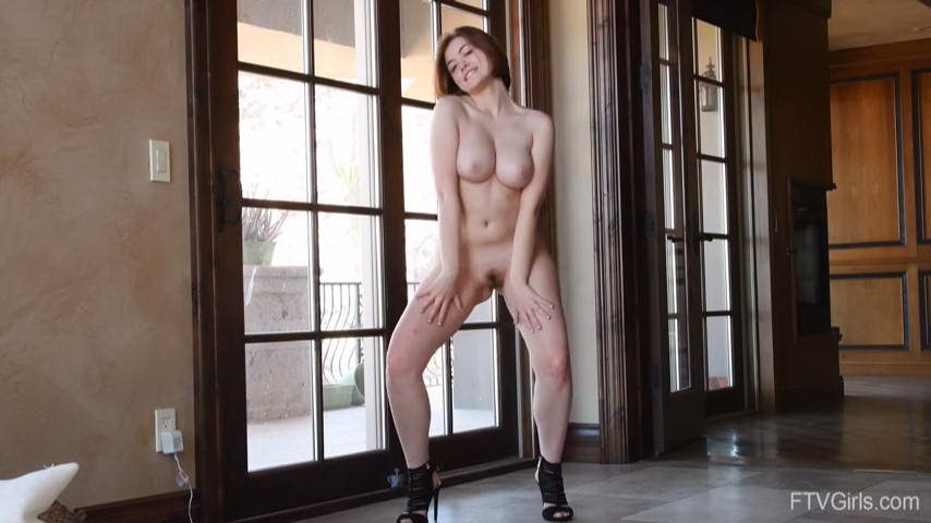 Young Busty Girl Dancing Naked on High Heels