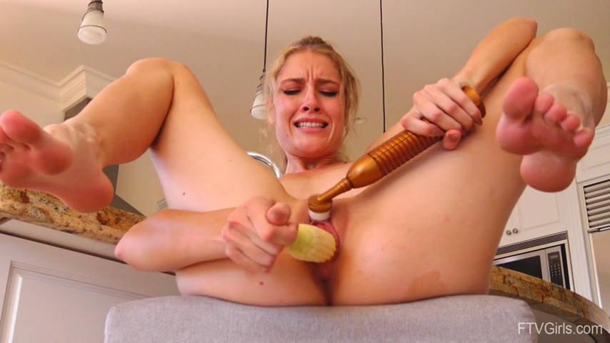 Girl Masturbating with Corn & Vibrator