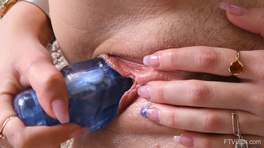 Blue Big Dildo in Pussy Close-up